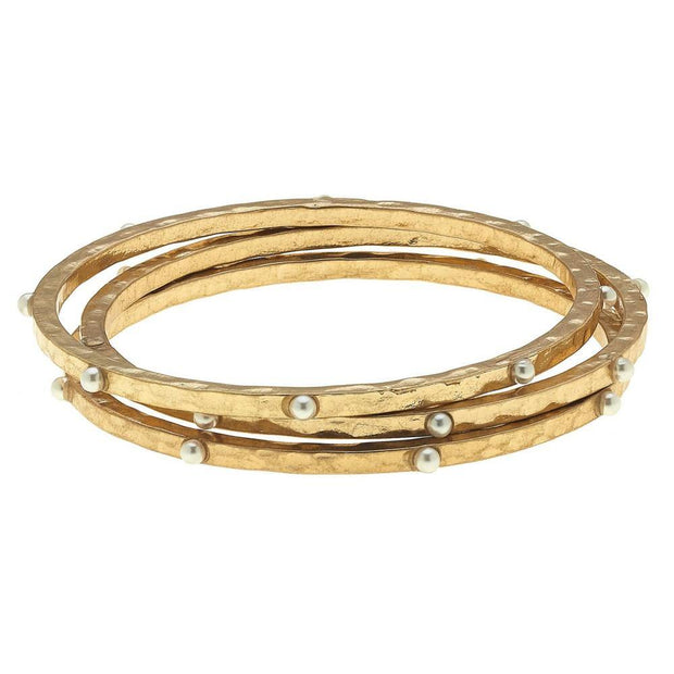 Studded Hammered Bangle Bracelet Sets
