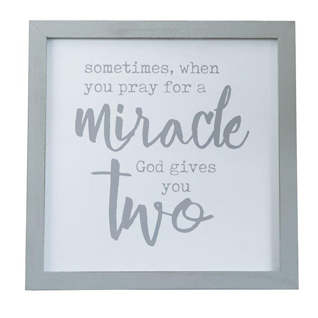 God Gives You Two Twin Wood Plaque - Fruit of the Vine