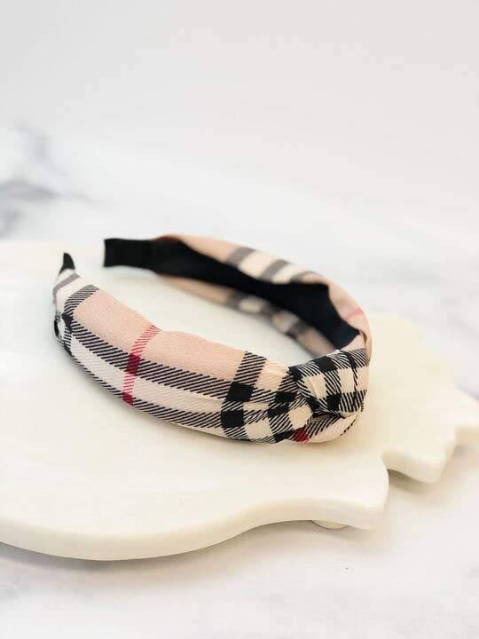 Top Knot Plaid Headband