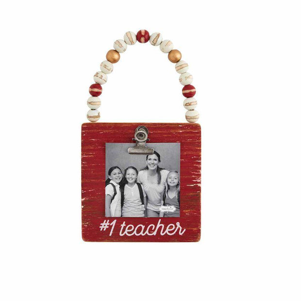 #1 Teacher Photo Ornament | Mud Pie | Fruit of the Vine Boutique