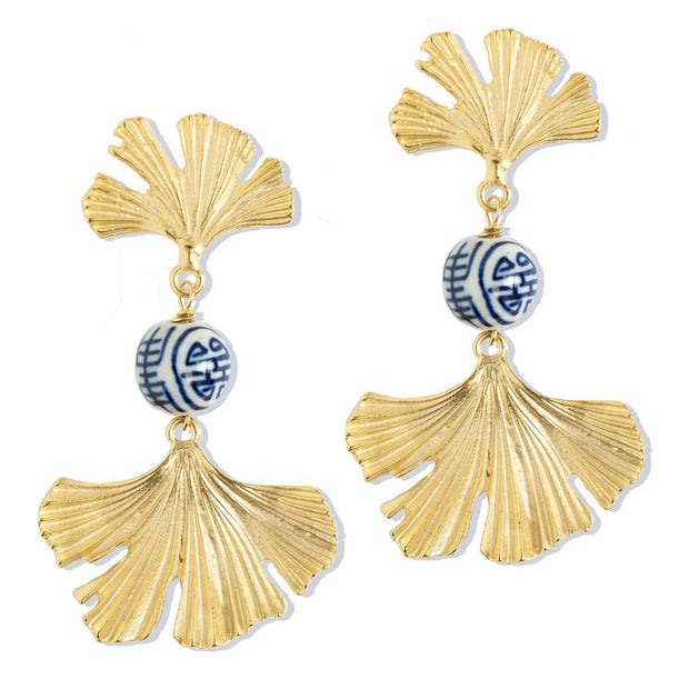 Gold Ginkgo Leaf and Porcelain Earrings