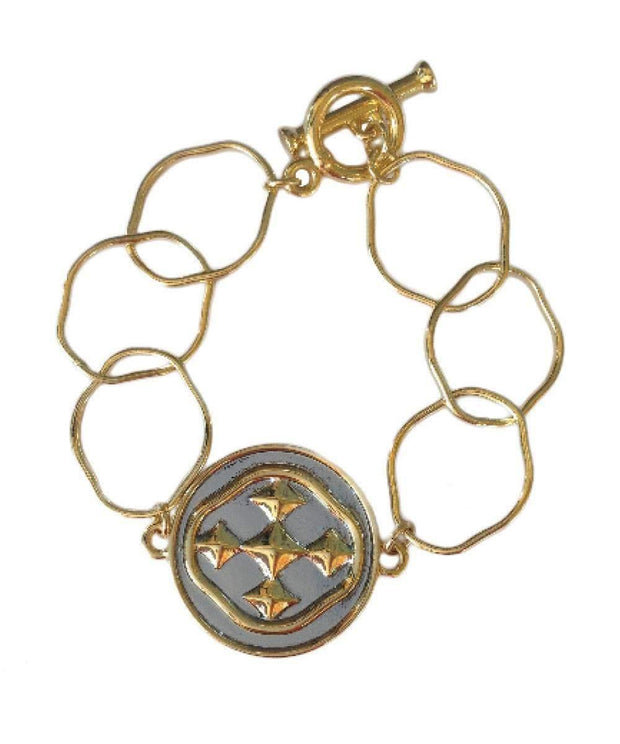 Gold and Silver Linked Medallion Bracelet