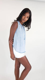 Maggie Chambray Button Front Tank