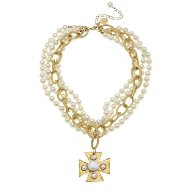Gold Maltese Cross with Freshwater and Coin Pearls Necklace