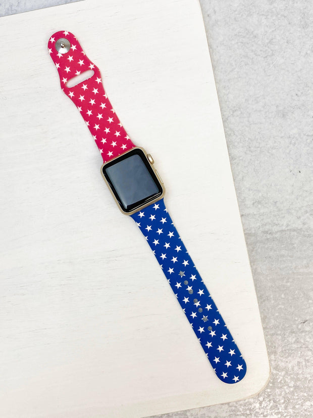 Red, White, & Blue Star Printed Silicone Smart Watch Band | Fruit of the Vine Boutique