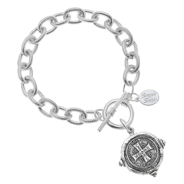 Silver St. Benedict Cross Bracelet | Susan Shaw | Fruit of the Vine Boutique