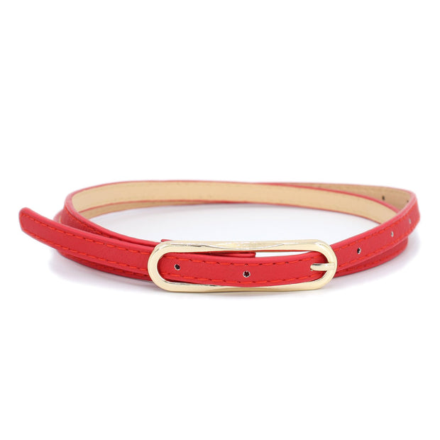 Red Skinny Belt with Gold Buckle