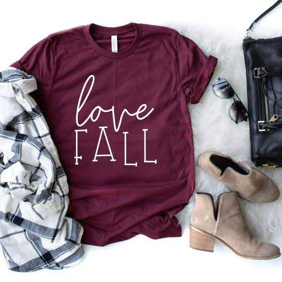 Burgundy Love Fall T-Shirt - Fruit of the Vine