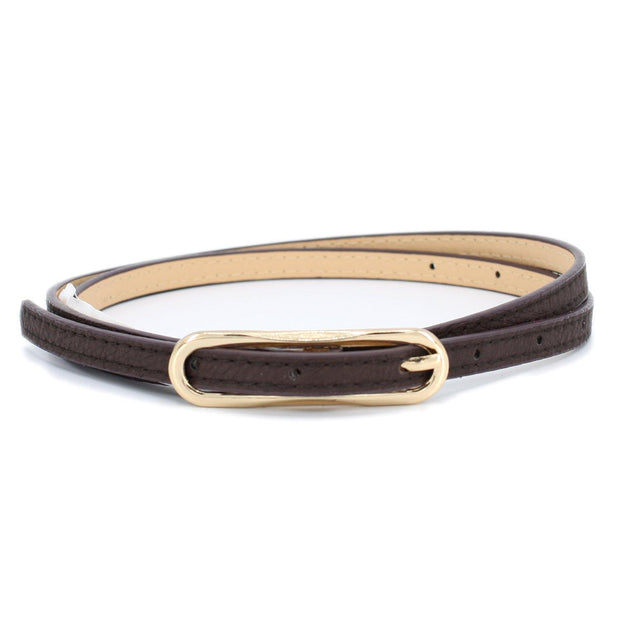 Dark Brown Skinny Belt with Gold Buckle