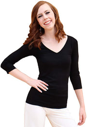 Solid 3/4 Sleeve V-Neck Top - Fruit of the Vine