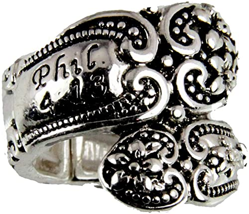 Antique Silvertone 'Phil. 4:13' Spoon Ring - Fruit of the Vine