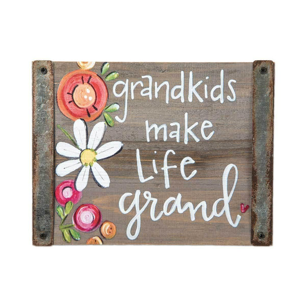 Grandkids Make Life Grand Block Sign