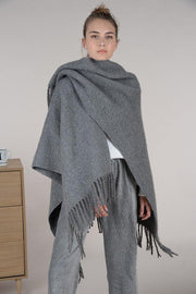 Grey Knit Fringe Poncho | Molly Bracken