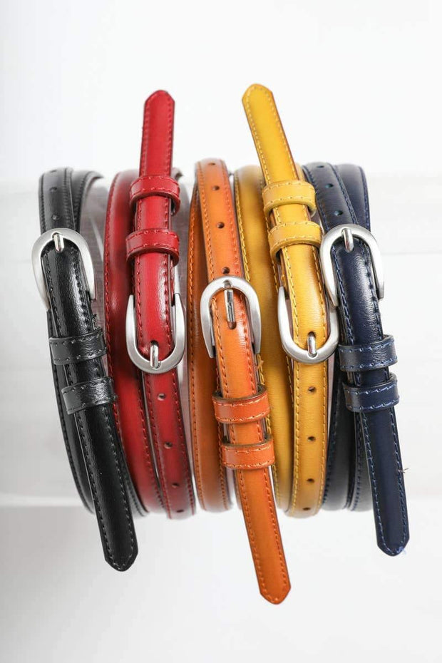 Skinny Horseshoe Buckle Cinch Leather Belt