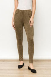 Mystree Faux Pocket Suede Jeggings - Fruit of the Vine