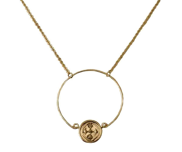 Wire Hoop Necklace with Shield of Faith Medallion | Gracewear Collection | Fruit of the Vine Boutique