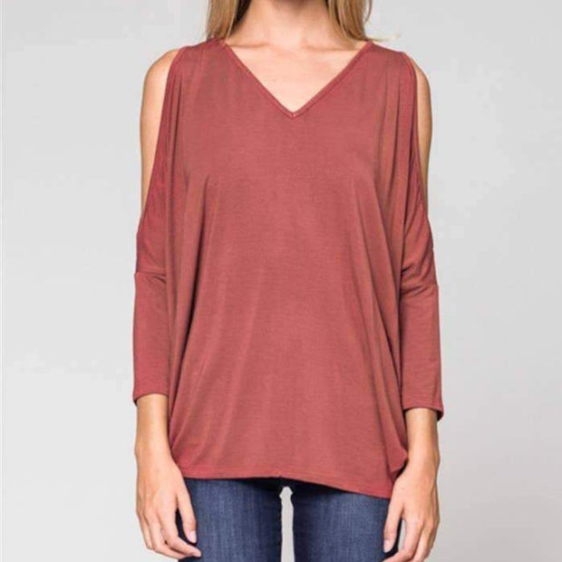 V-Neck Cold Shoulder Tops