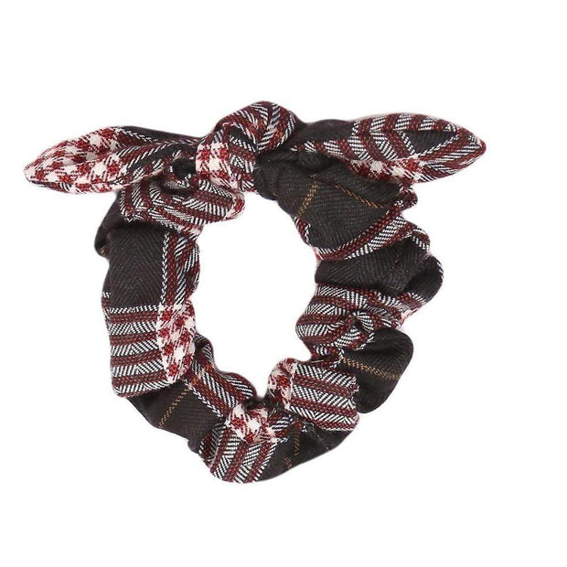 Knotted Plaid Print Scrunchie