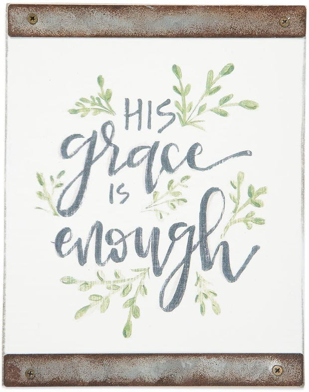 His Grace is Enough White Wood Block Sign