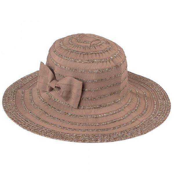 Foldable Bucket Hat with Striped Pattern in Latte
