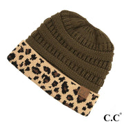CC Messy Bun Beanie with Leopard Cuff | Fruit of the Vine Boutique