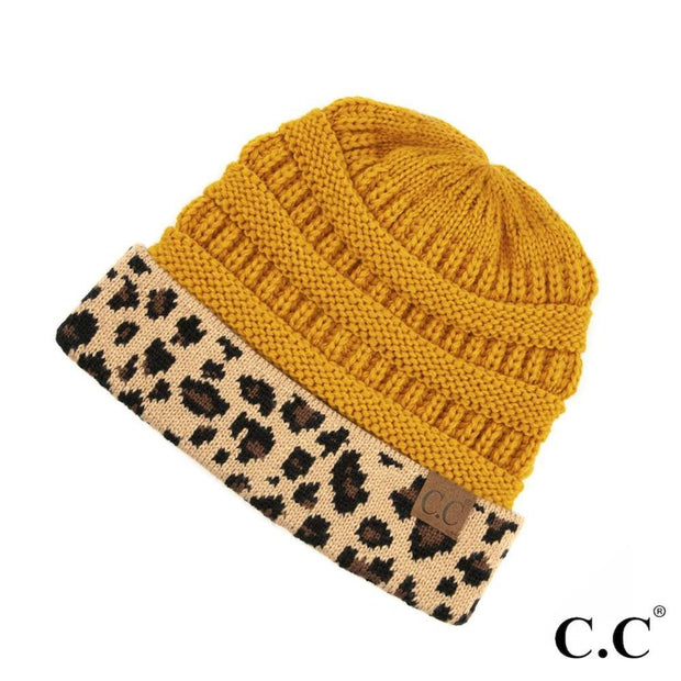 CC Beanie with Leopard Cuff | Fruit of the Vine Boutique