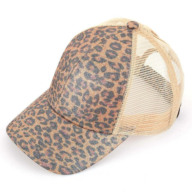 Leopard Print Pony Tail Hat