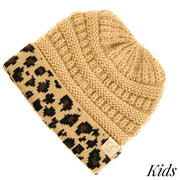 Kids Solid Beanie with Leopard Cuff