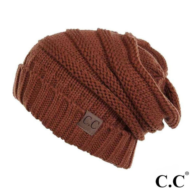 Ribbed knit slouchy beanie