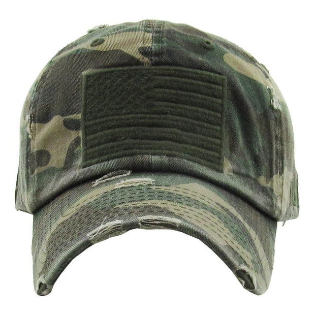 Distressed Camo Flag Hat