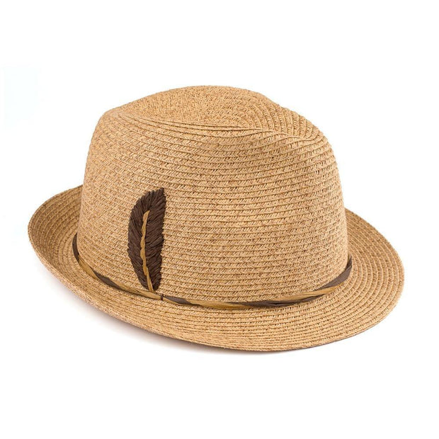 Fedora with Embroidered Raffia Feather