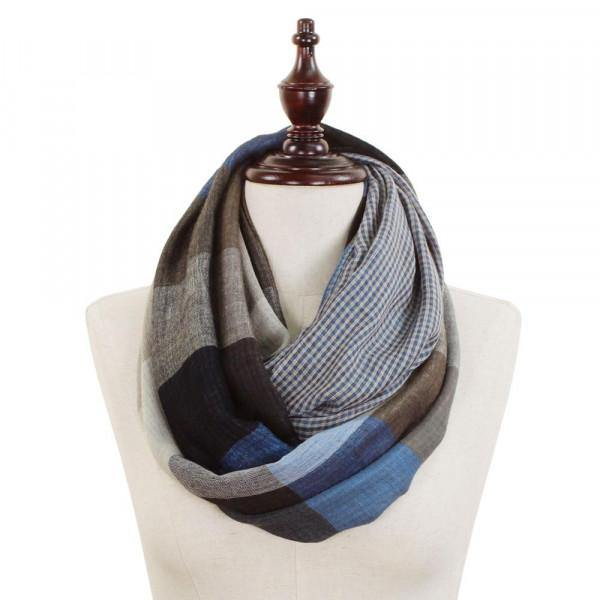 Blue and Black Checkered Infinity Scarf