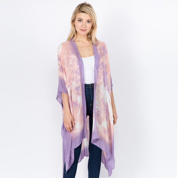 Lavender Rose Tie Dye Kimono - Fruit of the Vine