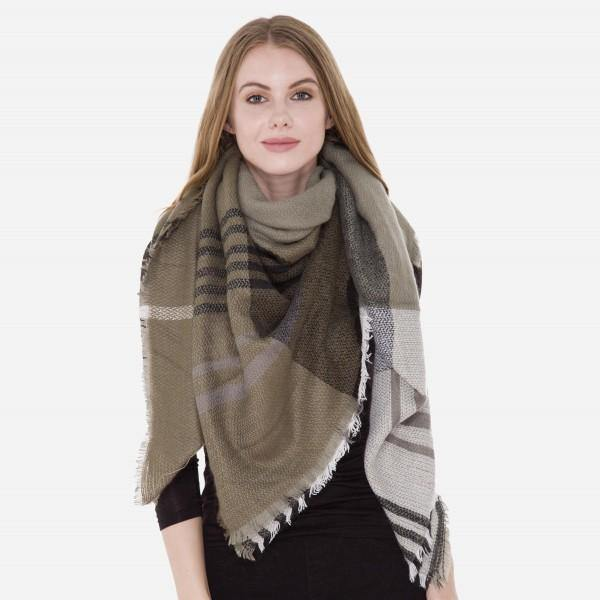 Olive Green and Grey Blanket Scarf
