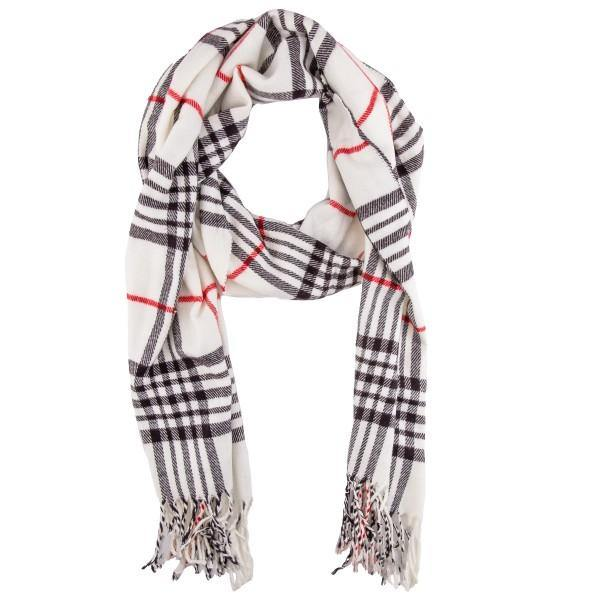 White Plaid Scarf with Tassels
