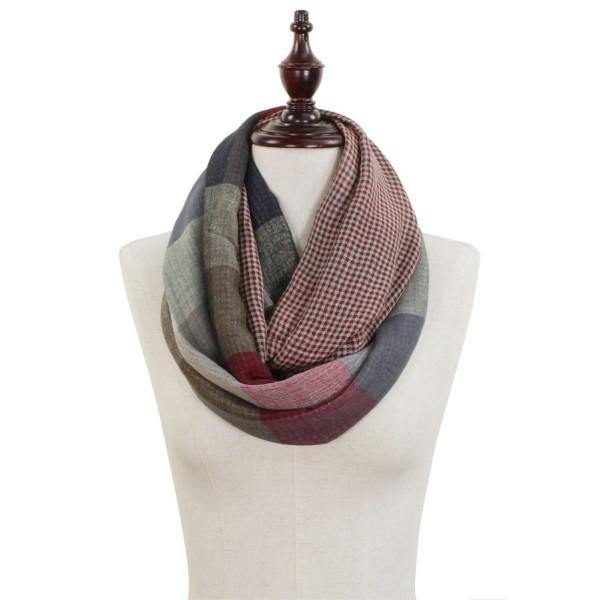 Red and Grey Checkered Infinity Scarf