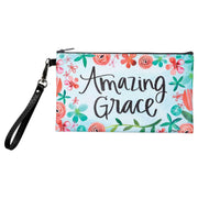 Amazing Grace light blue pouch with orange, pink, teal and green flowers and removable wristlet strap - back of the His mercies are new everymorning pouch