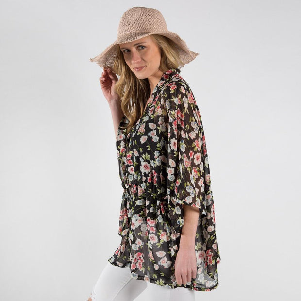 Floral Print Kimono - Fruit of the Vine