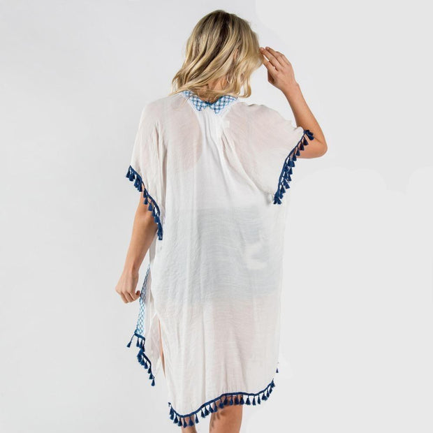 Crochet and Tassel Trim Kimonos - Fruit of the Vine