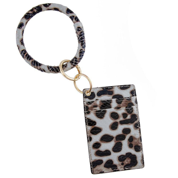 Grey Leopard Card Wallet Key Ring | Fruit of the Vine Boutique