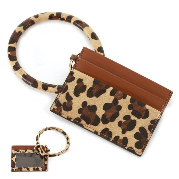 Brown Leopard Card Wallet Key Ring
