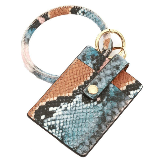 Snakeskin Card Wallet Key Ring | Fruit of the Vine Boutique