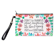 Philippians 4:6 Don't be anxious about anything but with thanksgiving pray about everything. Zippered pouch