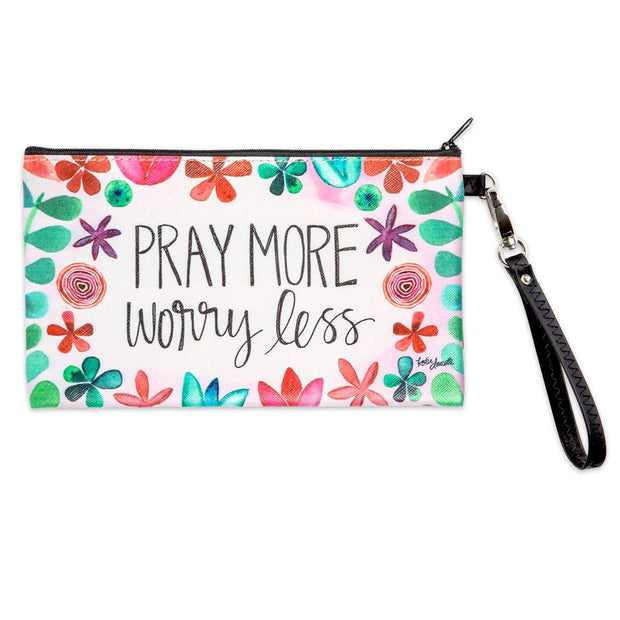 Pray more worry less pouch