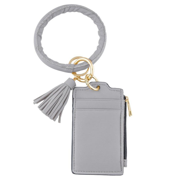 Grey Tassel Card Wallet Key Ring