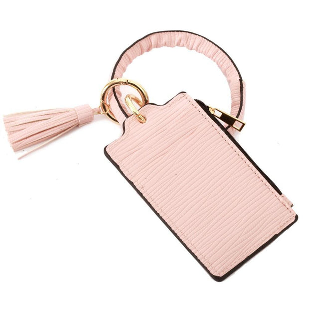 Pink Tassel Card Wallet Key Ring