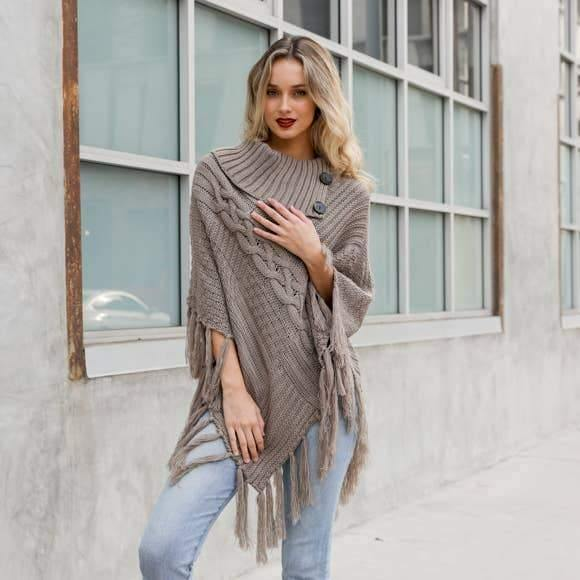 Cable Knit Poncho With Tassels