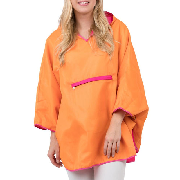 Singin in the Rain Reversible Poncho in Hot Pink & Orange - Fruit of the Vine