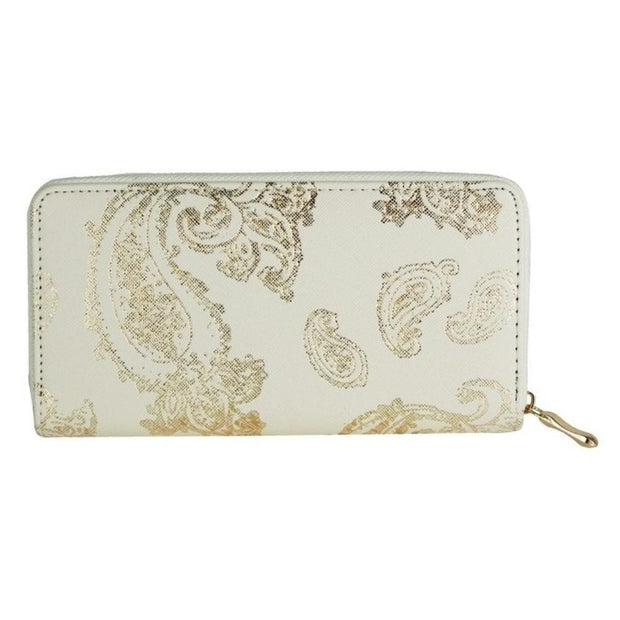Gold and Cream Metallic Paisley Print Wallet - Fruit of the Vine