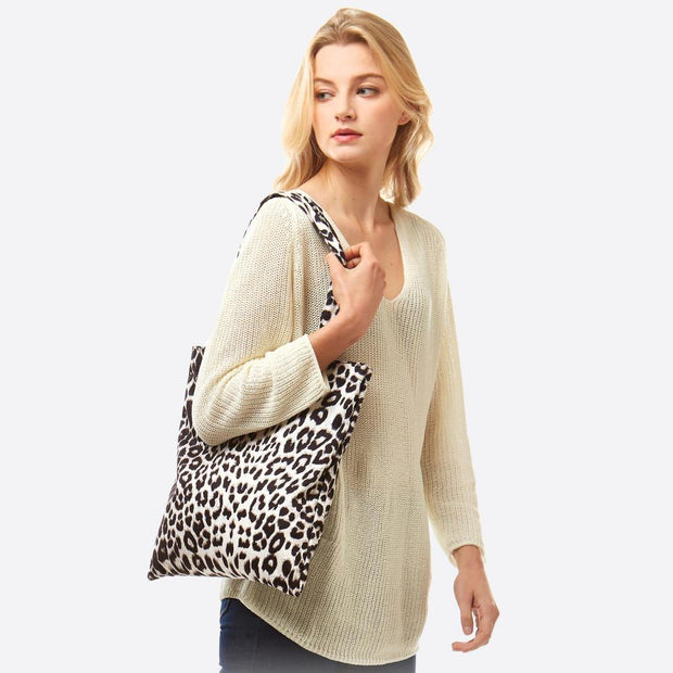 Grey Leopard Print Tote Bag | Fruit of the Vine Boutique